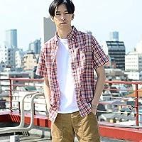 コーエン(メンズ)(coen) インディアコットンチェックボタンダウンシャツ【RED/SMALL】