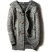 chouyatou Men's Chunky Toggle Button Mid-Length Knitted Cardigan Sweater Attached Hood