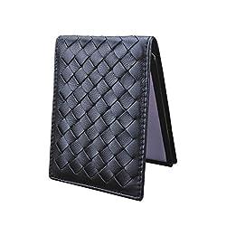 (エクスエイ)X.A 定期入れ カードケース 本革 カード入れ 名刺 ICカード 免許証 クレジットカード入れ パスケース 財布型 磁気消え防止 カードポケット 高級レザー 全8色 (ブラック)