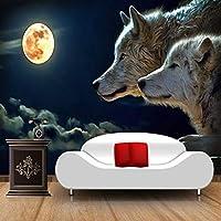 大壁画の壁紙、月光のオオカミの古典的な漫画の写真の壁紙、テレビのソファの背景フレスコ画3D 280 cm(W)x 180 cm(H)