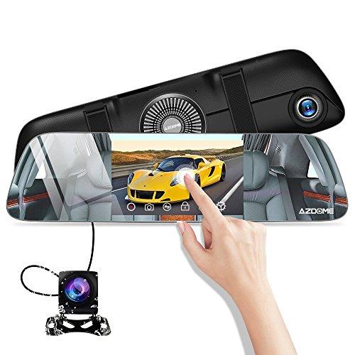 AZDOME 前後カメラ ドライブレコーダー バックミラー型 5.5インチ IPSタッチパネル バックカメラ IR ライト 超暗視機能 170度広角レンズ 1080PフルHD 120度広角リアカメラ Gセンサー 駐車監視 ループ録画 衝撃録画 IP67防塵防水 日本語説明付き