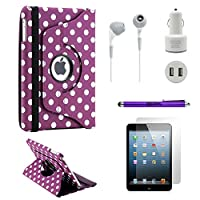 Gearonic TM iPad Mini 5- in - 1アクセサリーバンドル回転式ケースビジネス旅行コンボ パープル 6048-PurplePolkaDot-ipm