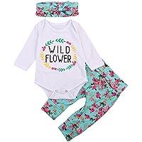 Hirigin Baby Girls' 3Pcs Floral Set Sleeve Romper Flower Pants Headband