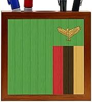 Rikki Knight Zambia Flag on Distressed Wood Design 5-Inch Wooden Tile Pen Holder (RK-PH8822) [並行輸入品]