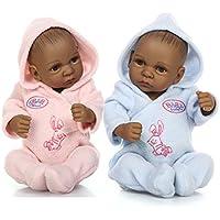African Americanフルボディシリコン赤ちゃん人形RebornブラックTwins防水11インチwith Clothes