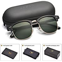 LUENX Men Clubmaster Polarized Sunglasses Women UV 400 Protection Grey Lens Black Retro Classic Frame 51MM,by LUENX with Case …