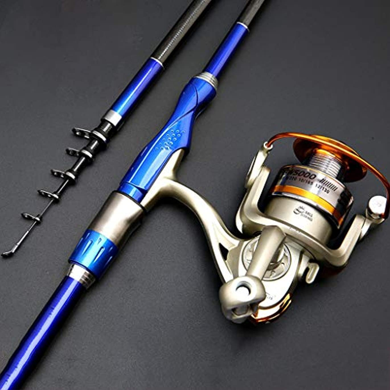 釣り竿リールコンボカーボンファイバー伸縮釣り竿付きスピニングリール旅行用海水淡水釣り