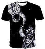 (ピゾフ) Pizoff Tシャツ 半袖 メンズ ブラック 宇宙飛行士 3Dプリント 面白 スリム カジュアル 夏服AL067-19-L