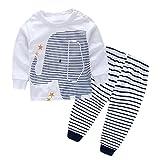 CANIS キッズ 子供服 幼児 ルームウェア パジャマ 長袖 Tシャツ&パンツ 上下セット 白い 男女兼用 象 プリント 縞模様 6-36月設定 可愛い (95)