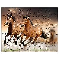 CafePress–Running Horses–ジグソーパズル、30個。