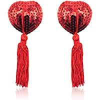 Amiciyah Glitter Sequins Heart Shape Tassel Nipple Pasties & Lace Mask-Reusable Rave Pasties For Women Costume Accessory