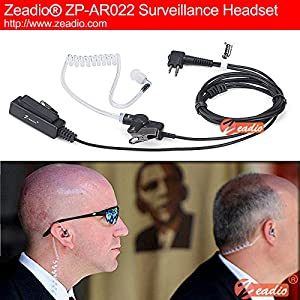 Zeadio Surveillance Covert Air Acoustic Tube Walkie Talkie Earpiece Headset with Earmold and Push-To-Talk Microphone for Motorola 2 Pin Two Way Radio