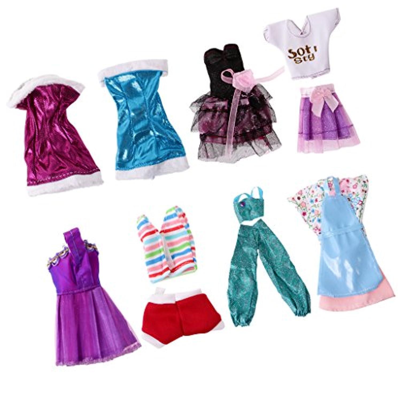 Dovewill 8セット入り 可愛い ドール用  ドレス スカート  シャツ ズボン  バービー人形対応  装飾
