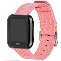 Marvel.P Fitbit Versa Strap, Charcoal Woven Fabric Wrist Band, w/Quick Release Watch Bands, Replacement Wristband with Stainless Steel Buckle for Fitbit Versa Fitness Smart Watch