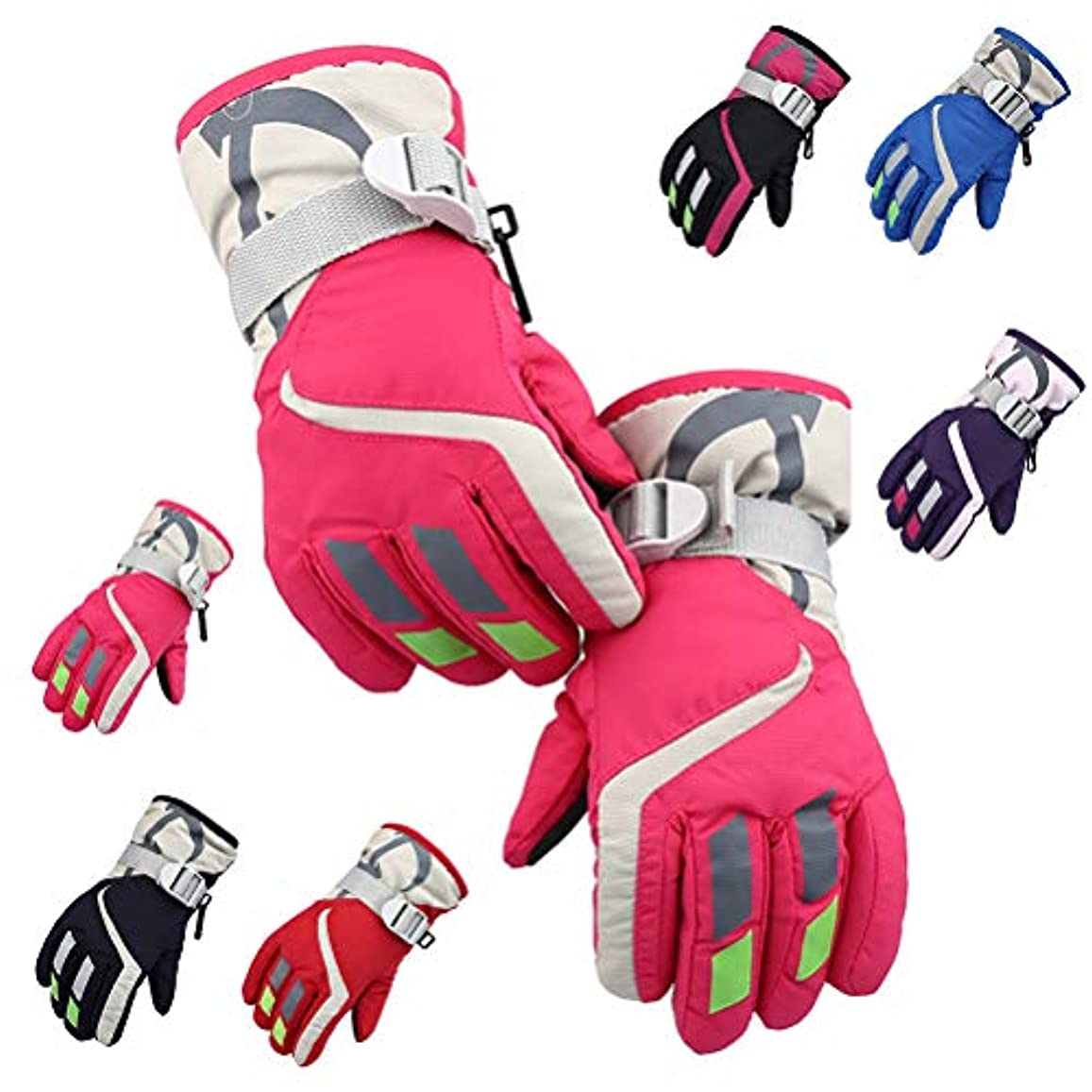 厳密にスクラッチロシアBlight スポーツグローブ子供用スキー手袋冬は、暖かい手袋調節可能な耐寒性手袋厚く防寒グローブ 保温 冬 厚手 革 防寒