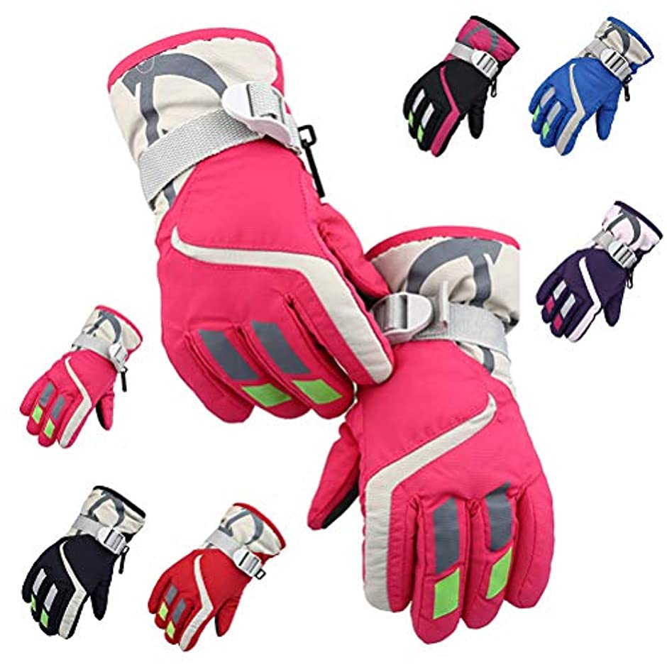 グリーンランド施し平行Blight スポーツグローブ子供用スキー手袋冬は、暖かい手袋調節可能な耐寒性手袋厚く防寒グローブ 保温 冬 厚手 革 防寒