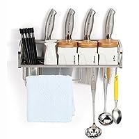 LIANGJUN 香りラック キッチン収納りキッチンラック収納棚壁掛け式キッチンラックワゴンタレット調味料フック付きストレージ多機能ステンレス鋼、濃化プロセス、4サイズ 物品棚 (サイズ さいず : 50*15*12cm+3 hooks)