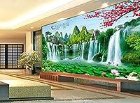 3D壁紙壁画写真滝中国風風景画寝室リビングルーム装飾絵画3D壁画壁紙3D