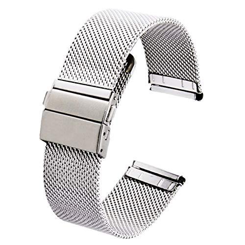 REOTTI 時計バンド 時計ベルト ステンレス メッシュ 腕時計 ワンプッシュ式 クイックリリース