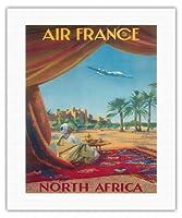北アフリカ - サハラ砂漠 - エアフランス - ビンテージな航空会社のポスター によって作成された ヴィンセント・グエラ c.1950 - キャンバスアート - 41cm x 51cm キャンバスアート(ロール)