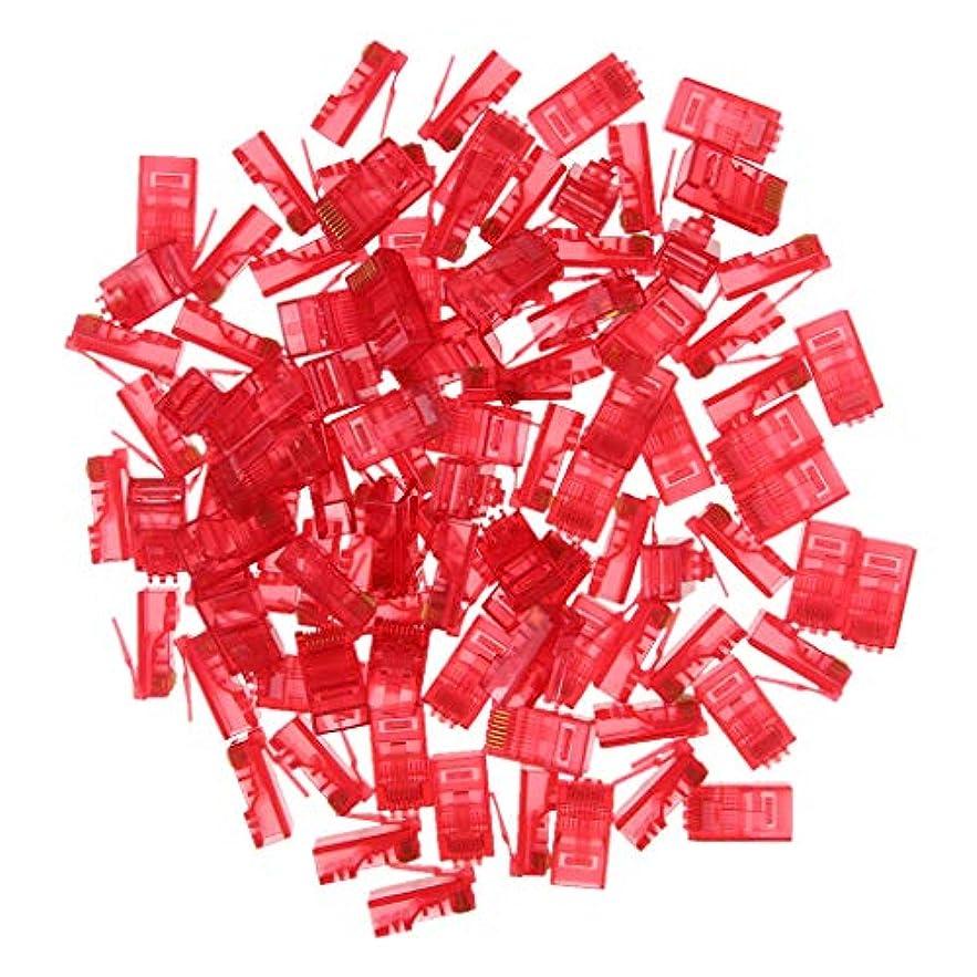 動員するそれにもかかわらずカスケードB Blesiya RJ45プラグ8P8C 約100ピース RJ45コネクタ 圧着エンド UTPネットワーク 全5色 - 赤