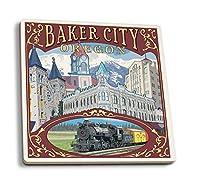 Baker City、オレゴン州–Townビュー 4 Coaster Set LANT-31803-CT