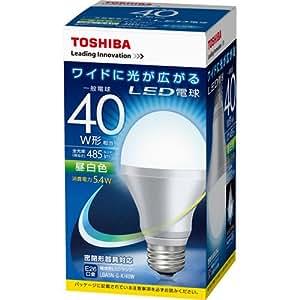 東芝 E-CORE(イー・コア) LED電球 一般電球形 5.4W (光が広がるタイプ・白熱電球40W相当・485ルーメン・昼白色) LDA5N-G-K/40W