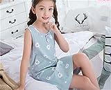 (グードコ) ガールズ ネグリジェ パジャマ 夏 女の子 ワンピース プリント ルームウェア 袖なし ゆったり 薄手 お姫様 部屋着 101 150CM