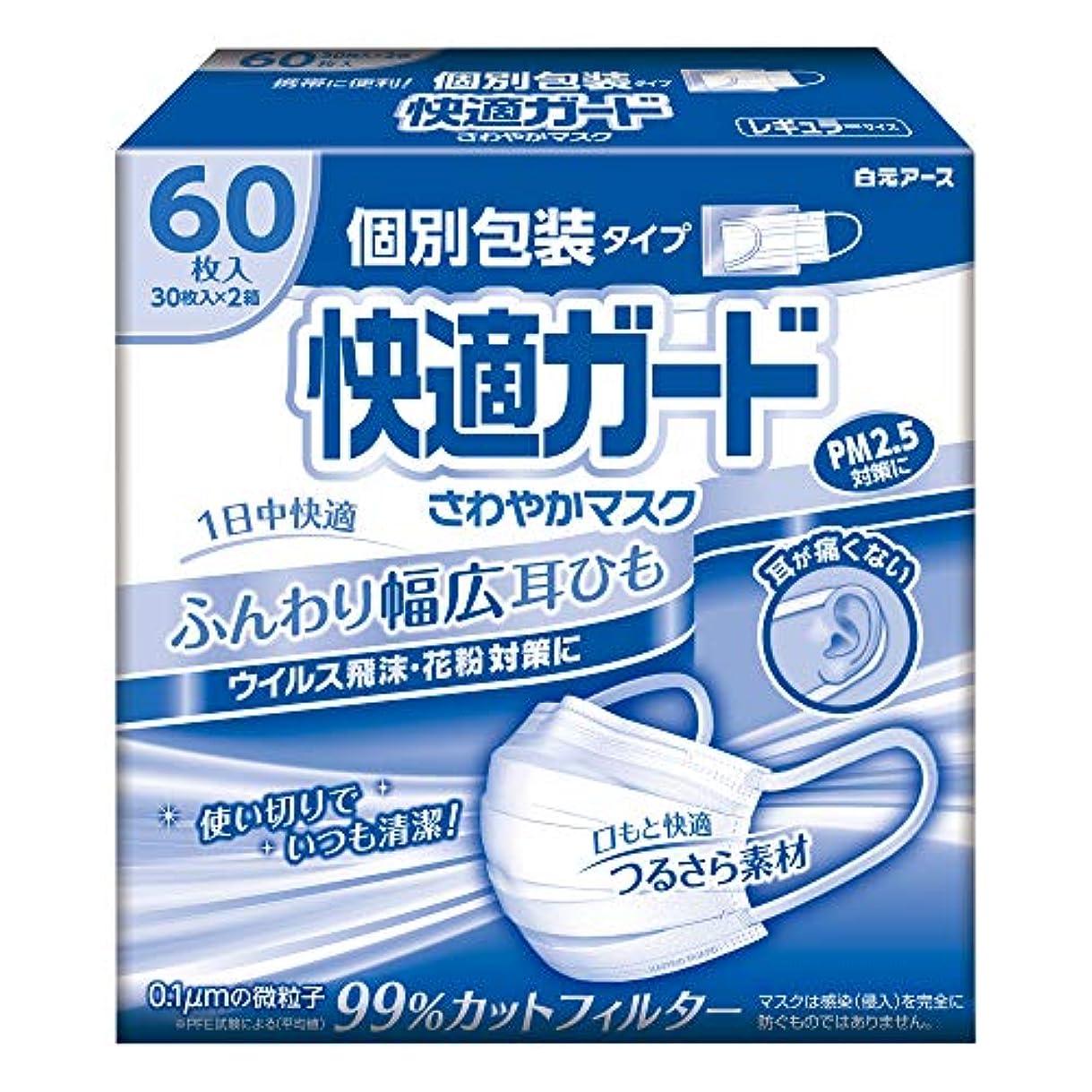 司令官パイル属性快適ガード さわやかマスク個別包装 レギュラーサイズ60枚入(30枚入×2箱)