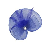 Blesiya 結婚式 教会 アクセサリー 人工フェザー クリップ付き ヘッドドレス 髪のアクセサリー 全10色 - ダークブルー