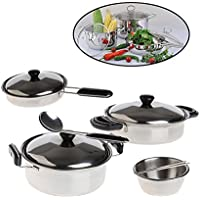 TANGON Stainless Steel Pretend Play Kitchen Play Mini Pot & Pan Cookware Playset Toy Party Set for Kids-20 pc