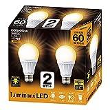 ルミナス LED電球 口金直径26mm 60W相当 電球色 広配光タイプ 密閉器具対応 2個セット CM-A60GL2