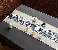 テーブルランナー コットンリネンテーブルランナー仏教ムードティーテーブルクッションエスニックスタイルテーブルフラッグベッドランナースクリプトと絵画 (色 : ベージュ, サイズ さいず : 30*150cm)
