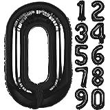 Angel&tribe 番号 バルーン 0-9 誕生日 パーティー 装飾 ヘリウム 箔 マイラー 大きい 番号 バルーン 101cm/40インチ ブラック 番号0