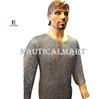 NAUTICALMART BestフラットRiveted Vikings Maille Armour胸囲52 Long Sleeves Large亜鉛メッキ