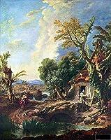 手描き-キャンバスの油絵 - 風景画 with the brother Francois Boucher 芸術 作品 洋画 ウォールアートデコレーション -サイズ11