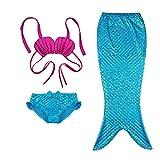 BAOHULU 女の子 子供 水着 セパレート水着 可愛い 人魚姫 人魚 衣装 3色揃え コントラストカラー配色 優雅 可愛い ベビー水着 柔らかい 快適 スイミングウェアS218_HPBL_130