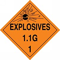 Accuform Signs MPL17VP25 Plastic Hazard Class 1/Division 1G DOT Placard Legend EXPLOSIVES 1.1G 1 with Graphic 10-3/4 Width x 10-3/4 Length Black on Orange (Pack of 25) [並行輸入品]