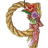 Azurosa(アズローザ) プリザーブドフラワー ギフト リース 枯れない花 お正月 飾り しめ縄 稲穂付き 特大 ナチュラルラベンダー
