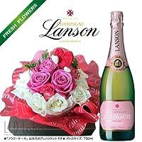 待望のケーキバージョンが登場 シリーズ累計6,000セット突破 お祝 記念日 抱きついて喜ぶ感動ギフト ランソン ロゼラベル ブリュット フラワーケーキ ドラマティックギフト Flower Cake Limited Edition (ローズピンク(Rose Pink))