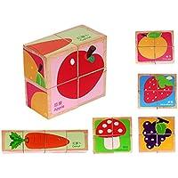 木製教育玩具木製キューブブロックパズルfor Age 1 – 3 Years Old子供、6パズルin one