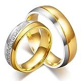 Anazoz ステンレススチール キュービックジルコニア 6MM幅 ゴールドメッキ 結婚式リングセット 指輪 レディース 14号 メンズ 26号