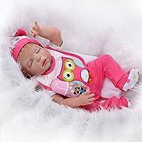 23 Full Silicone Body Reborn Baby Lifelike Sleeping Little Girl Doll Women Nursing Treats Shooting Props by NPK