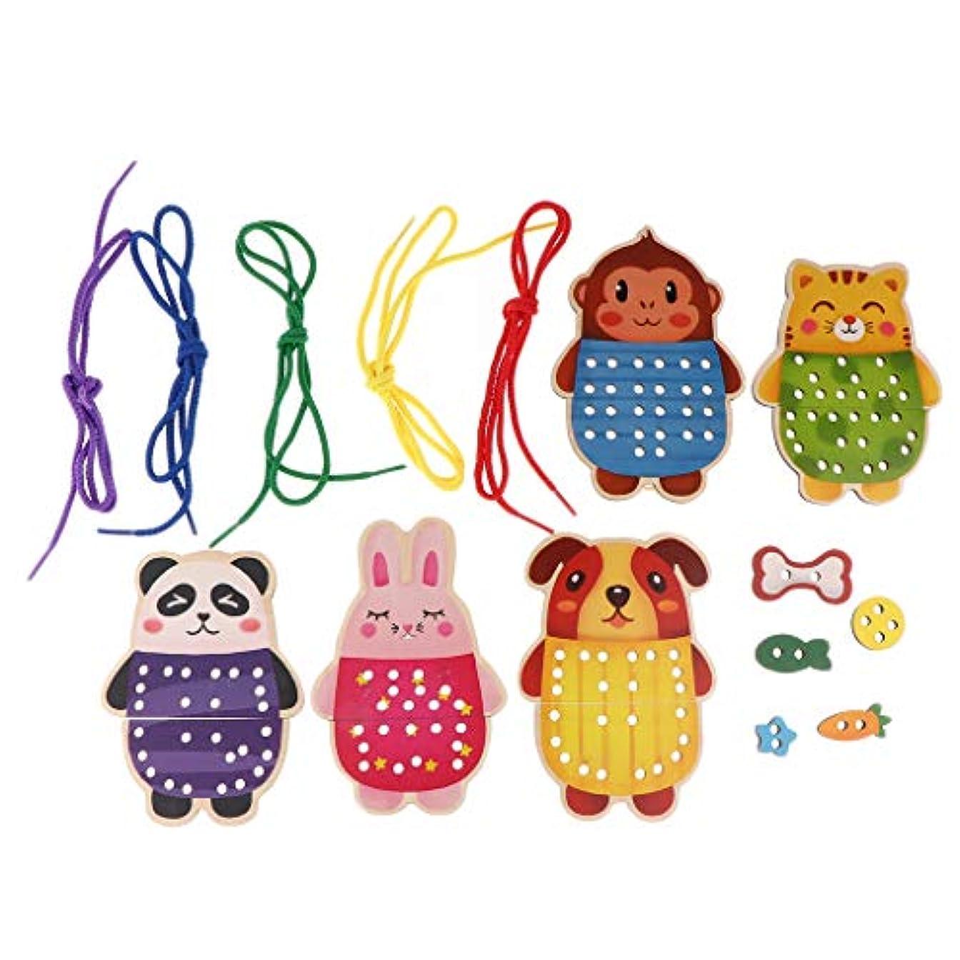 先住民出血美徳Sharplace ひもとおし 木製パズル 動物形 ひも通し おもちゃ 子供 教育玩具 誕生日 プレゼント