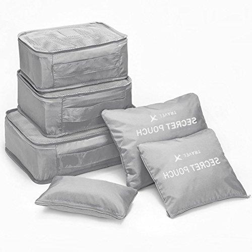 アレンジケース トラベルポーチ 旅行ポーチ 洗面用具収納 旅行 出張 整理用 軽量 6点セット グレー MumanS