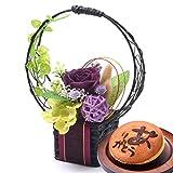 和風プリザーブドフラワーとお芋入りのどらやきセット 花とスイーツギフト (紫)