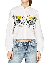 (Willing) レディース ファッション トップス 花柄 刺繍 シャツ フラワー ブラウス フリル 長袖 マオカラーフ ロント ボタン