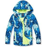 C&X Boys Girls Rain Jacket Kids Hooded Waterproof Raincoat Windbreaker with Fleece Lining