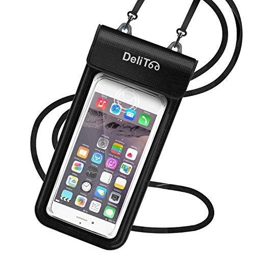 【3重密閉&2重折り返し】防水ケース スマホ用 IPX8 指紋認証 顔認証 防水携帯ケース タッチ可 水中撮影 iPhone/Android 6.44インチ以下全機種対応 ストラップ&アームバンド付き 海水浴 水泳 釣りなど適用 (ブラック)