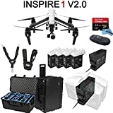 DJI Inspire 1 V2.0 Bundle with 4 Batteries + Charging Hub (Charge all batteries at the same time) + Go Professional Case + 64GB Extreme Pro MicroSD Card (drone206)【並行輸入品】Amazontry (One size, White/Black)